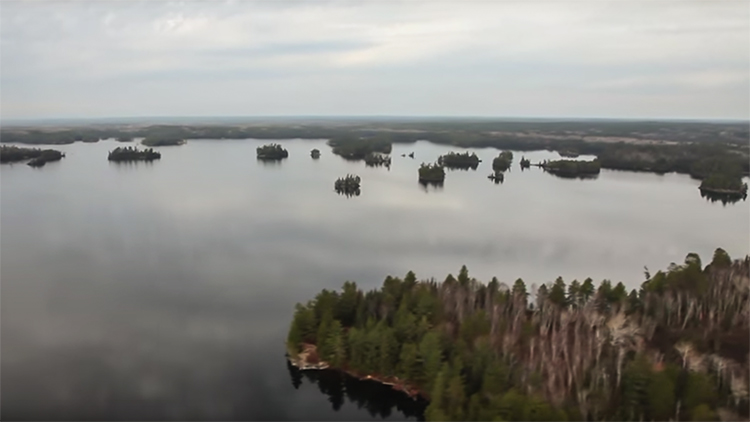 Quetico Provincial Park aerial view of trees, lakes, islands from float plane