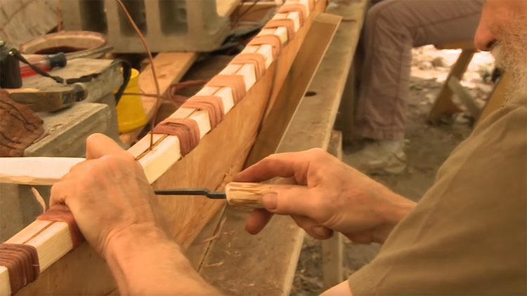 Building a birch bark canoe in Minnesota