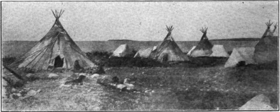 Black and white photo of tipis